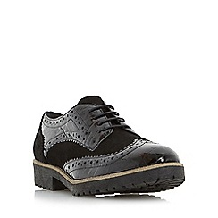 Dune - Black 'Faune' mixed material lace up