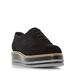 Dune - Black 'Follow' flatform lace up shoe