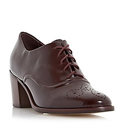 Dune - Maroon 'Fritz' block heel leather lace up shoe