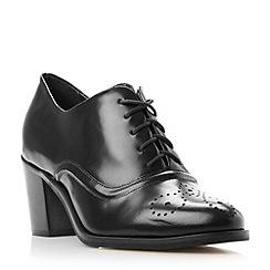 Dune - Black 'Fritz' block heel leather lace up shoe
