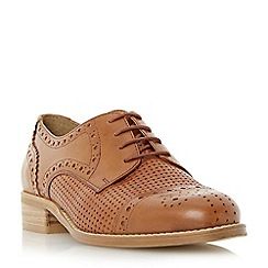 Dune - Tan 'Finchly' weave embossed leather lace up shoe