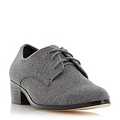 Dune - Grey pointed toe block heel lace up shoe