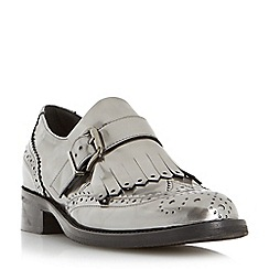 Dune - Silver 'Fabia' fringe detail brogue monk shoe