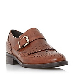 Dune - Tan 'Fabia' fringe detail brogue monk shoe
