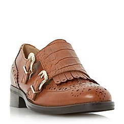 Dune - Tan 'Fiona' fringe detail brogue monk shoe