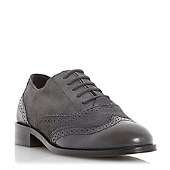 Dune - Grey-suede 'Fountain' suede lace up brogue