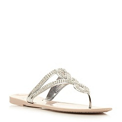 Dune - Neutral diamante embellished jelly flip flop
