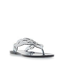 Dune - Grey 'Lexanna' diamante embellished toe post flat sandal