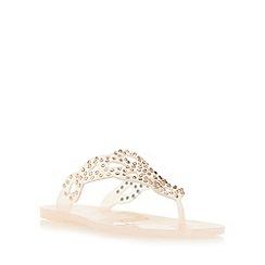 Dune - Natural 'Lexanna' diamante embellished toe post flat sandal