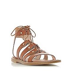 Dune - Tan 'Lorelli' stud detail gladiator sandal