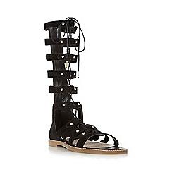 Dune - Black 'Lahlia' high leg lace-up flat gladiator sandal