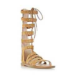 Dune - Tan 'Lahlia' high leg lace-up flat gladiator sandal