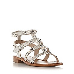 Dune - Silver 'Lorie' stappy stud detail flat gladiator sandal