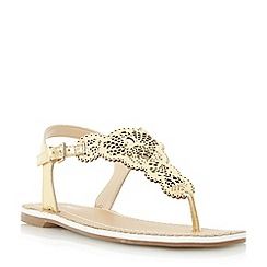 Dune - Gold 'Lill' laser cut toe post flat sandal