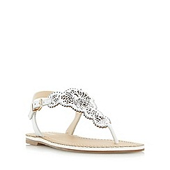 Dune - White 'Lill' laser cut toe post flat sandal