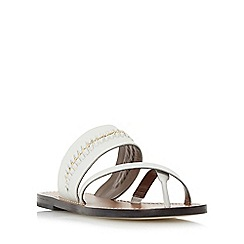Dune - Off white 'Laken' chain detail flat sandal