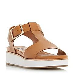 Dune - Tan 'Longbury' flatform t-bar sandal