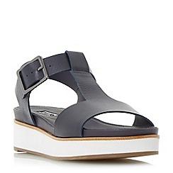 Dune - Navy 'Longbury' flatform t-bar sandal