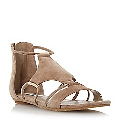 Dune - Neutral hardware detail suede flat sandal