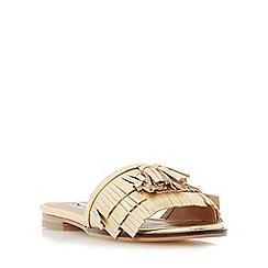 Dune - Gold 'Lasso' fringe detail flat mule sandal
