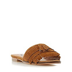 Dune - Tan 'Lasso' fringe detail flat mule sandal
