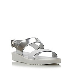 Dune - Silver-leather 'Loren' two part leather eva sole sandal