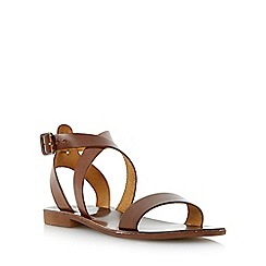 Dune - Brown leather cross over strap flat sandal