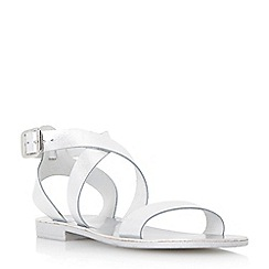 Dune - Silver-leather 'Lotti' leather cross strap flat sandal