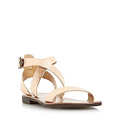 Dune - Rose 'Lotti' leather cross strap flat sandal