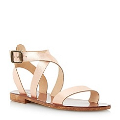 Dune - Metallic leather cross over strap flat sandal