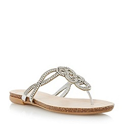 Dune - Metallic diamante and chain embellished toe post sandal