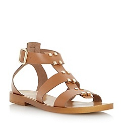 Dune - Brown studded leather gladiator sandal