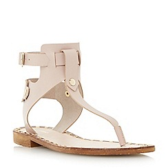 Dune - Neutral leather toe post stud detail flat sandal