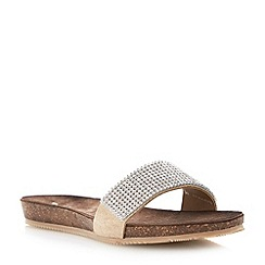 Dune - Neutral diamante flat footbed sandal