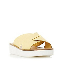 Dune - Yellow 'Launch' cross strap flatform sandal