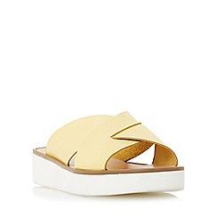 Dune - Yellow 'Launch' cross strap flatform sandal