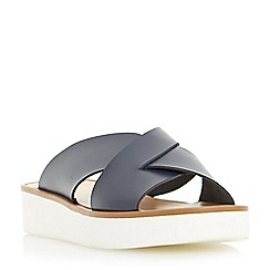 Dune - Navy 'Launch' cross strap flatform sandal