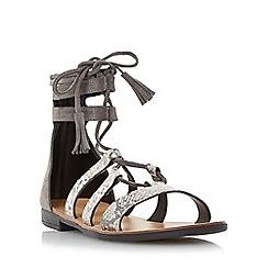 Dune - Grey 'Lagunaa' ghillie lace up sandal