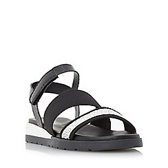 Dune - Black 'Lightening' multi strap flat sandal
