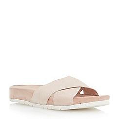 Dune - Neutral cross strap flat mule sandal