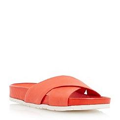 Dune - Red cross strap flat mule sandal