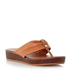 Dune - Brown leather toepost flat sandal