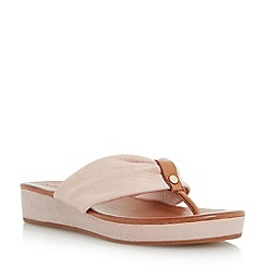 Dune - Neutral leather toepost flat sandal