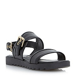 Dune - Black two part buckled strap flat leather sandal