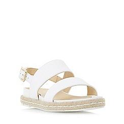 Dune - White 'Lacrosse' espadrille slingback flat sandal