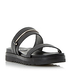 Dune - Black double strap leather mule sandal