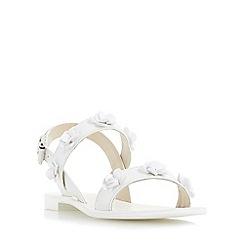Dune - White 'Lavender' flower embellished flat sandal