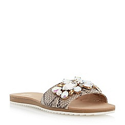 Dune - Grey flat jewelled mule sandal