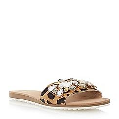Dune - Leopard flat jewelled mule sandal