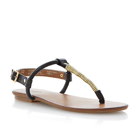 Dune - Black gold twisted detail toe post sandal